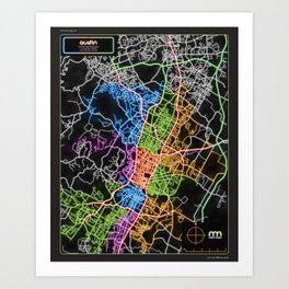 Austin Texas Street Map Poster in Neon Art Print