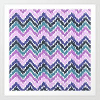ikat Art Prints featuring Ikat Chevron by Noonday Design