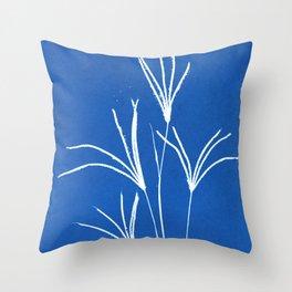 Cyanotype wildflower floral print Throw Pillow