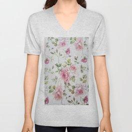 Shabby vintage blush pink white floral Unisex V-Neck