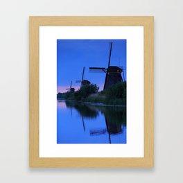 Blue Evening Near The Windmils Framed Art Print