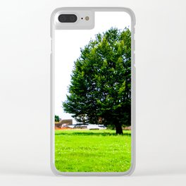 Windswept - Tree in field (Wiltshire, England) Clear iPhone Case