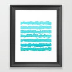 Maritime pattern- aqua handpainted stripes on clear white- horizontal Framed Art Print