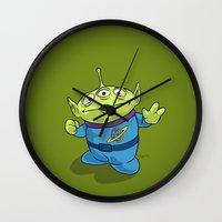 toy story Wall Clocks featuring Toy Story | Pizza Planet Alien by Brave Tiger Designs