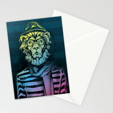 Hipster Lion Black and White Stationery Cards