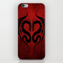 Black and Red Twin Tribal Dragons iPhone Skin