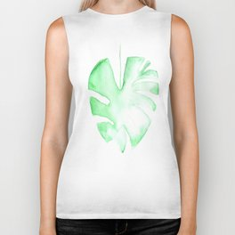 170928 Never Leaves 13 |Monstera Watercolor Art | Abstract Watercolors Biker Tank