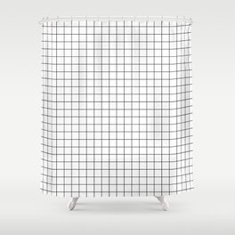 Black and White Thin Grid Graph Shower Curtain