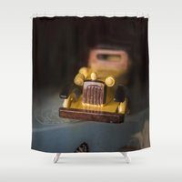 grand theft auto Shower Curtains featuring Vintage Auto by Maria Moreno
