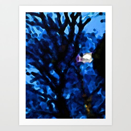 Black Branches in the Lavender Blue Wind Art Print