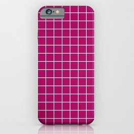 Jazzberry jam - violet color -  White Lines Grid Pattern iPhone Case