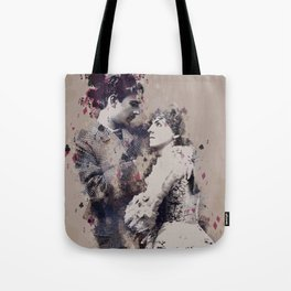Vintage Lovely Couple Abstract Poker Papers Art Painting. Tote Bag