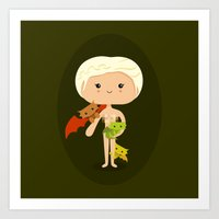 mother of dragons Art Prints featuring Dragons' Mother by Sombras Blancas Art & Design