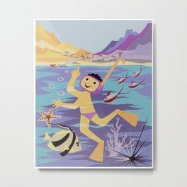 Snorkeling Vintage Poster Metal Print