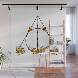Deathly Hallows in Gold and Gray Wall Mural