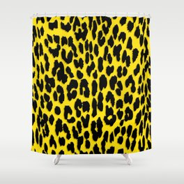 Bright Yellow & Black Leopard Print Shower Curtain