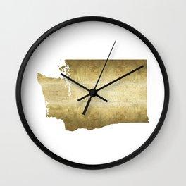 washington state gold foil map Wall Clock