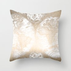 Antique White Gold World Map Throw Pillow