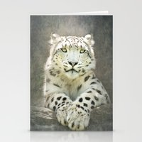 snow leopard Stationery Cards featuring Snow Leopard by Pauline Fowler ( Polly470 )