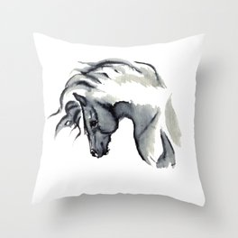 Gray Horse in ink Throw Pillow