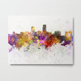 Omaha skyline in watercolor background Metal Print