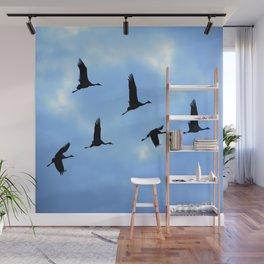 Welcome back! Cranes in flight #decor #society6 #buyart Wall Mural