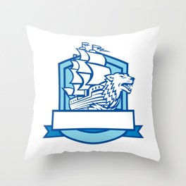 Galleon With Wolf on Bow Crest Retro Throw Pillow