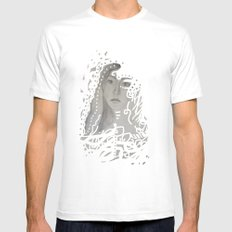 grey face made of pencil and lace White MEDIUM Mens Fitted Tee