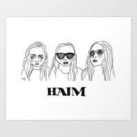 haim Art Prints featuring Haim by ☿ cactei ☿