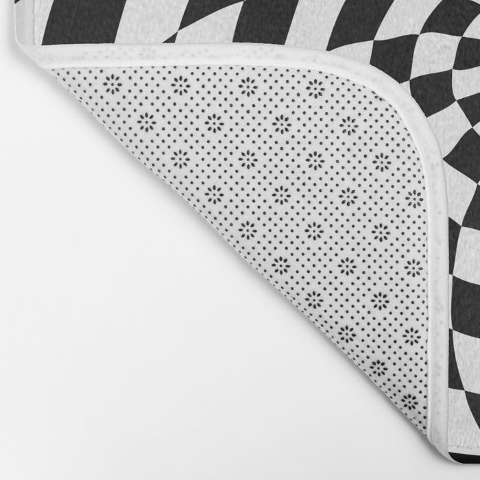 Optical Illusion Op Art Black and White Retro Style Bath Mat