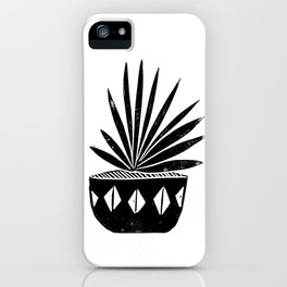 Aloe houseplant linocut lino print black and white minimal modern office home dorm college decor iPhone Case