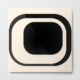 Mod 3 Minimalist Black and Almond Cream Modern Retro Abstract Metal Print