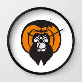 Orangutan Bearded Tussled Hair Retro Wall Clock