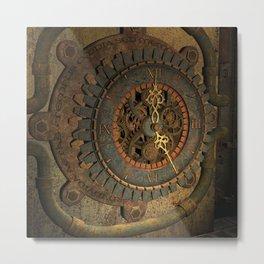 Steampunk, awesome clock, rusty metal Metal Print
