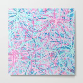 Life is a Party - Pink & Light Blue Abstract Metal Print