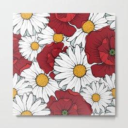 Beautiful flowers seamless pattern Metal Print