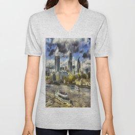 The River Thames And City Art Unisex V-Neck