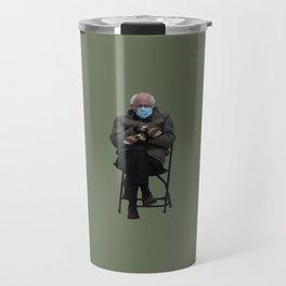 Bernie Sanders Mittens Chair Meme Vector Art Travel Mug