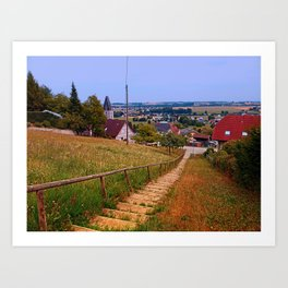 Stairway to the village center | landscape photography Art Print