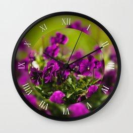 Purple pansies flowering plants Wall Clock
