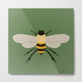 Save The Bees - Green Metal Print