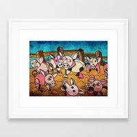 pigs Framed Art Prints featuring Pigs by Matt Jeffs