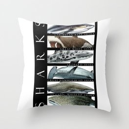 Sharks of the World Throw Pillow