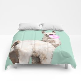 Baby Llama Blowing Bubble Gum Comforters