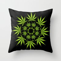 cannabis Throw Pillows featuring Cannabis Leaf Circle (Black) by The Image Zone