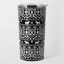 Westie fair isle west highland terrier christmas holiday gifts dog pattern black and white Travel Mug