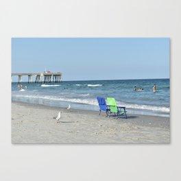 Gulls and Beach Chairs / Wrightsville Beach, NC Canvas Print
