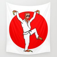 sloth Wall Tapestries featuring Sloth Karate by mailboxdisco