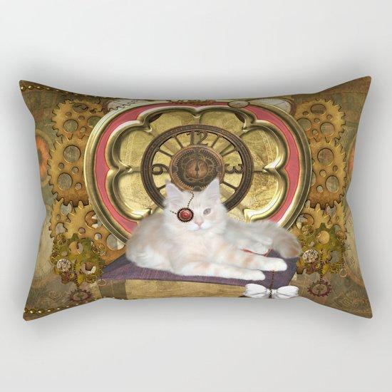 Steampunk, cute cat Rectangular Pillow
