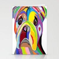 english bulldog Stationery Cards featuring Bulldog by EloiseArt